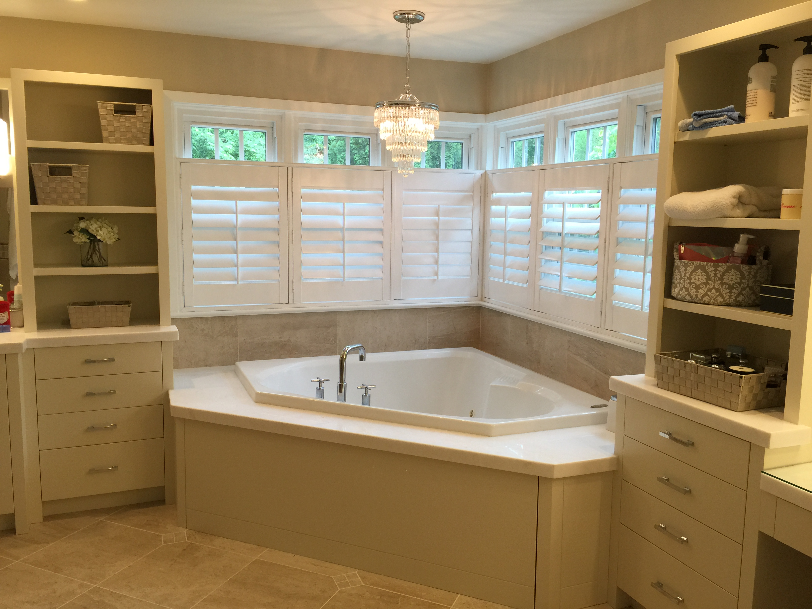 Recently Completed Total Master Bath Renovation Custom Cabinetry And Tub Panel 2 Thick White Marble Tub Deck And Vanity Tops Porcelain Tile Floor
